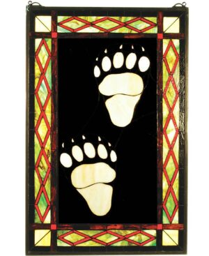 "Bear Tracks | Art Glass Panel | 17.5"" X 26.5"""