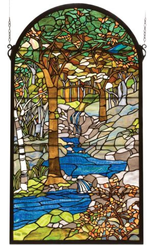 "Tiffany Waterbrooks | Art Glass Window Panel | 40"" X 22"""