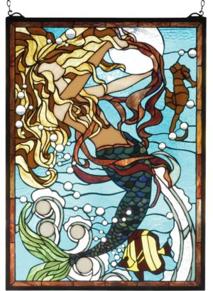 "Mermaid of the Sea | Tiffany Stained Glass Panel | 19"" X 26"""
