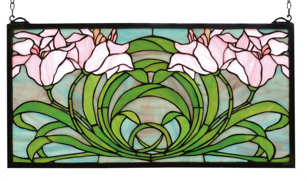 "Calla Lily | Stained Glass Window | 22"" W X 11"" H"