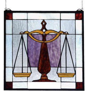 "Judicial | Law Office Art Glass Window | 18"" X 18"""