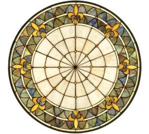Fleur-de-lis | Round Stained Glass Window | 30""