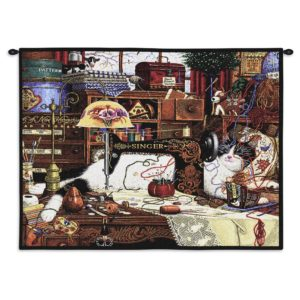 Charles Wysocki Cat Maggie The Messmaker | 34 x 26 | Tapestry