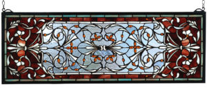 "Versaille Transom | Stained Glass Window | 10"" H X 28"" W"