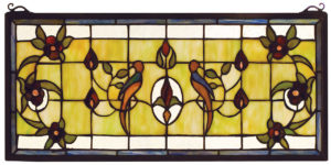 "Lancaster | Hanging Stained Glass Panel | 22"" W X 10"" H"