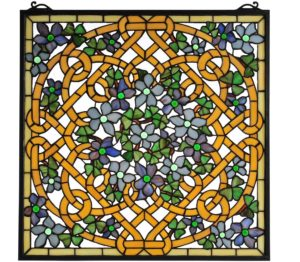 "Shamrock Garden | Art Glass Window Panel | 22"" X 22"""