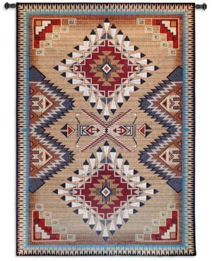 Brazos Southwest Sampler Cornflower & Red Tapestry | 53 x 76