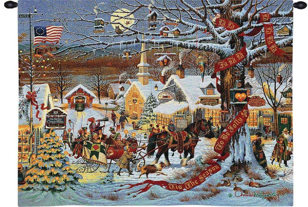 Small Town Christmas by Charles Wysocki - Christmas Tapestry