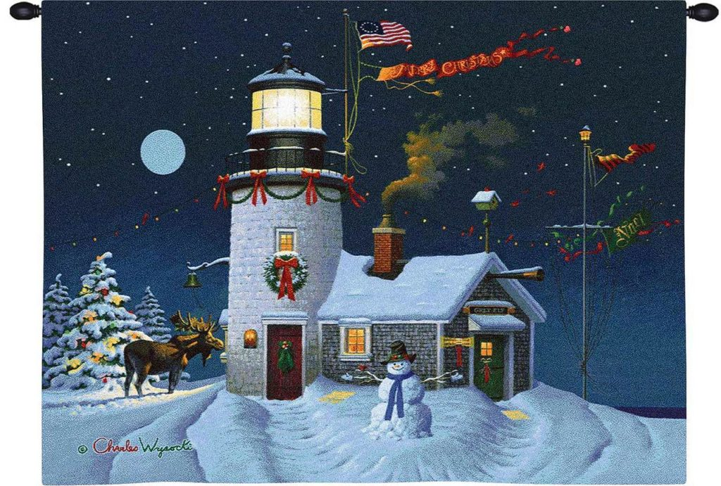 Take Out Window by Charles Wysocki - Christmas Tapestry