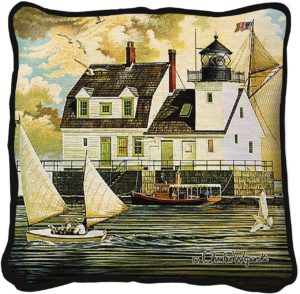 Rockland Breakwater Light by Charles Wysocki | Throw Pillow | 17 x 17