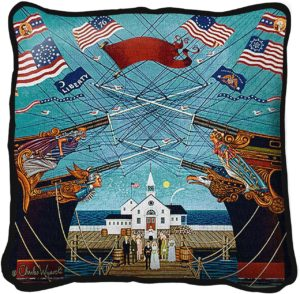 Dockside Marriage by Charles Wysocki | Throw Pillow | 17 x 17