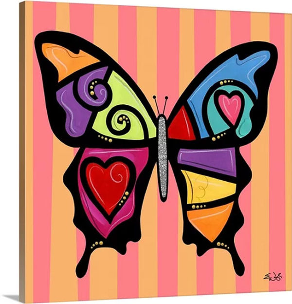 Butterfly Hearts And Swirls by Eric Waugh Graphic Art on Canvas