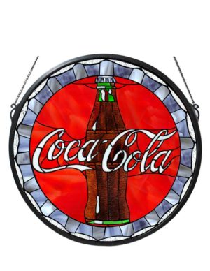 "21"" W X 21"" H Coca-Cola Bottle Cap Medallion Stained Glass Window"