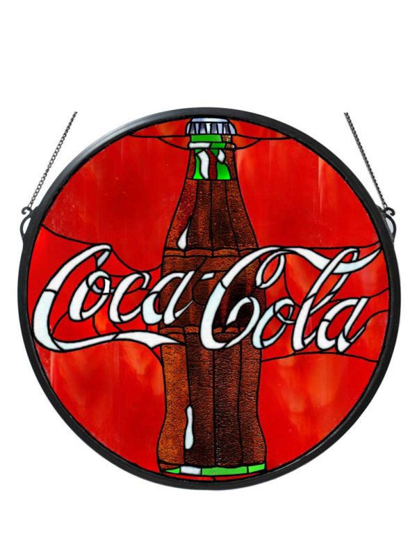 """21"""" W X 21"""" H Coca-Cola Button Medallion Stained Glass Window"""