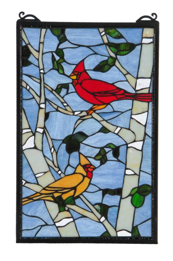 Cardinal Morning   Birds   Stained Glass Window