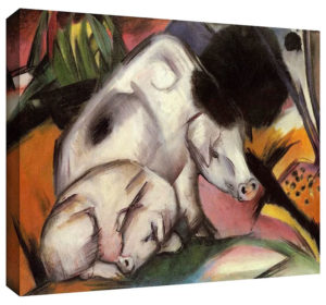 Pigs by Franz Marc Painting Print on Canvas