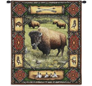 "Buffalo Lodge Rustic Tapestry Wall Hanging | 26"" x 34"""