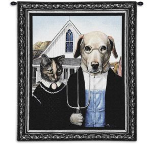 Animal American Gothic | 26 x 34 | Tapestry Wall Hanging