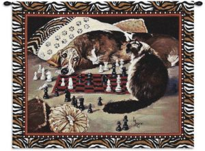 Your Move (Cat & Dog Playing Chess) | 34 x 26 | Tapestry Wall Hanging