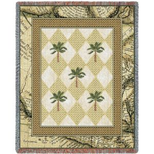 Colonial Palms   Woven Throw Blanket