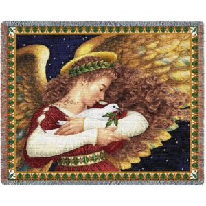 Angel & Dove | Christmas Seasonal Throw Blanket