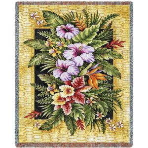 Tropical Flowers Contemporary | Throw Blanket