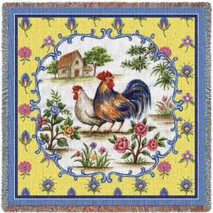 Country Roosters | Afghan Blanket | 54 x 54
