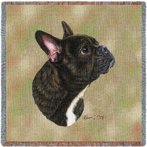 "French Bulldog Breed Portrait | Throw Blanket | 54"" x 54"""