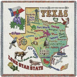 Texas State Map Blanket | Woven Tapestry Throw | 54 x 54
