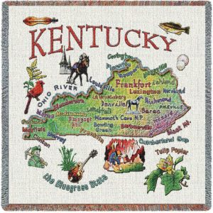 Kentucky State Map Blanket | Woven Tapestry Throw | 54 x 54