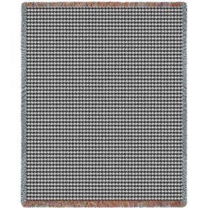 "Houndstooth Grey | Tapestry Blanket | 53"" x 70"""