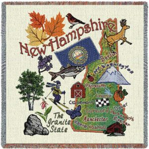 New Hampshire State Map Blanket | Woven Tapestry Throw | 54 x 54