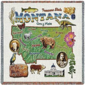 Montana State Map Blanket | Woven Tapestry Throw | 54 x 54