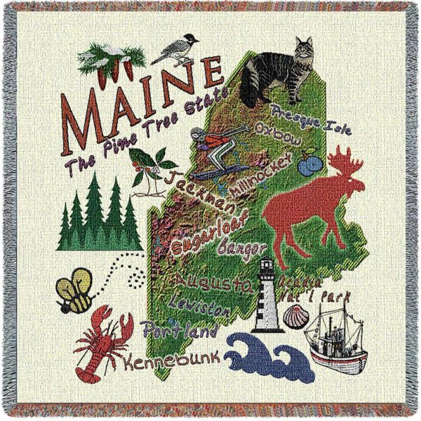 Maine State Map Blanket | Woven Tapestry Throw | 54 x 54