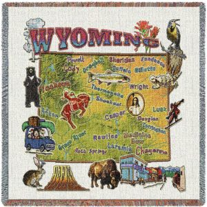 Wyoming State Map Blanket   Woven Tapestry Throw   54 x 54