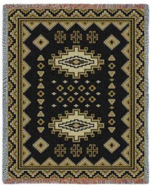 Southwest Sampler Black and Gold | Tapestry Blanket | 53 x 70