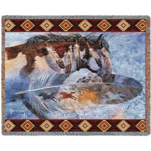 "Horsefeathers (Horses) | Tapestry Blanket | 70"" x 54"""