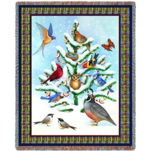 Bird Haven | Cotton Throw Blanket | 53 x 70