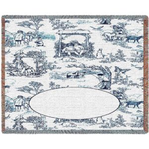 Childhood Toile Blue Mini | Woven Throw