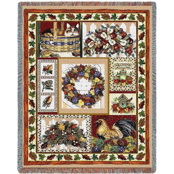 Fall Patchwork   Country Cotton Throw Blanket