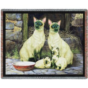 Siamese Cat Family | Throw Blanket