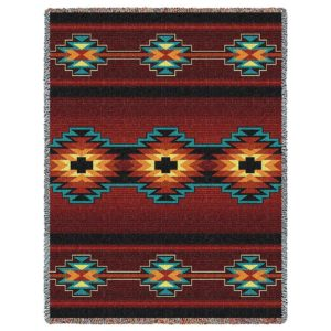 Southwest Geometric Deep Red | Cotton Throw Blanket