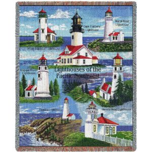 Lighthouse of the Pacific Northwest | Woven Blanket | 53 x 70