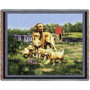 Golden Retriever Family | Tapestry Blanket | 54 x 70