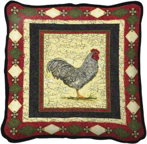 Le Coq (Rooster) | Decorative Throw Pillow | 17 x 17