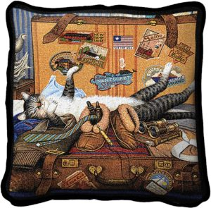 Charles Wysocki | Mabel The Stowaway | Tapestry Throw Pillow | 17 x 17