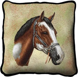 Paint Horse Horses | Woven Tapestry Throw Pillow | 17 x 17