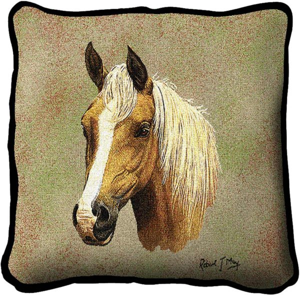Palomino Horses | Woven Tapestry Throw Pillow | 17 x 17