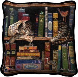 Max In The Stacks Cats Throw Pillow