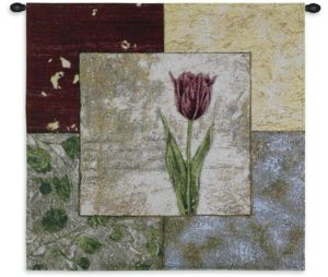 """Seasons IV   27"""" x 27""""   Floral Tapestry Wall Hanging"""